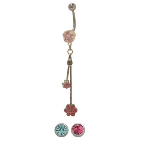 14 gauge Dangling Flower Belly Button Ring with CZ Jewels