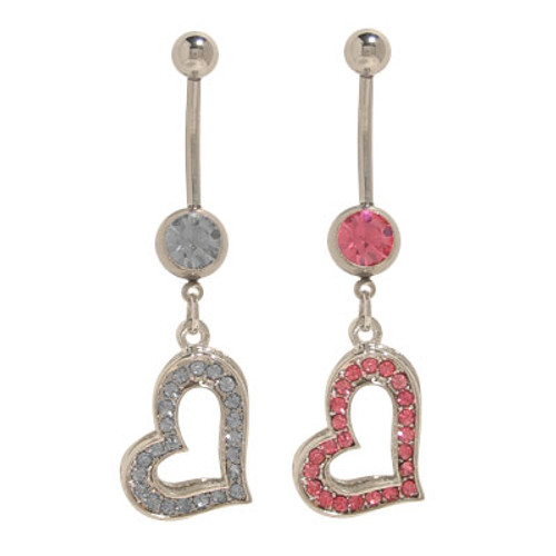 14 gauge Dangling Heart Belly Button Ring Surgical Steel with Jewels