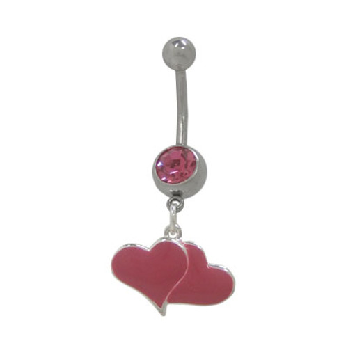 14 gauge Dangling Hearts Belly Button Ring with CZ Jewel