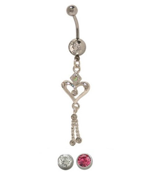 14 gauge Dangler Heart Belly Button Ring with CZ Jewels