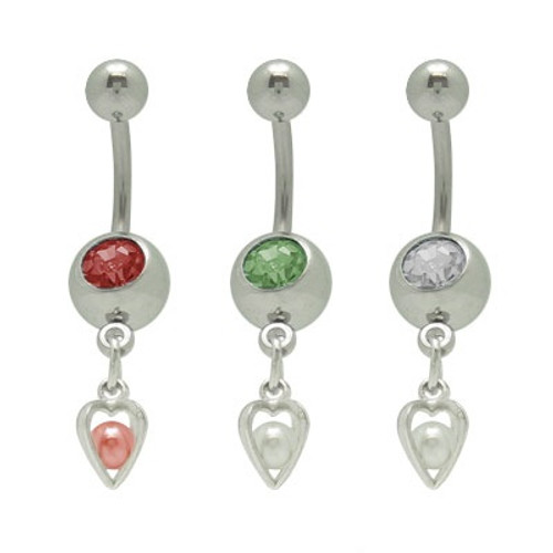 14 gauge Dangle Heart Jeweled Belly Button Ring