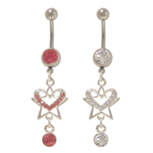 14 gauge Dangling Heart & Star Belly Rings with CZ Jewels