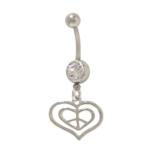 14 gauge Dangling Heart with Peace Sign Belly Ring