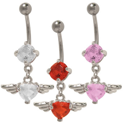 14 gauge Dangling Jewel Heart with Wings Belly Ring