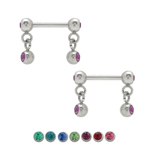 Pair of  Dangle Jeweled Nipple Barbell 14g