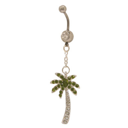 Dangling Palm Tree 14 gauge Belly Ring with Cz Jewels