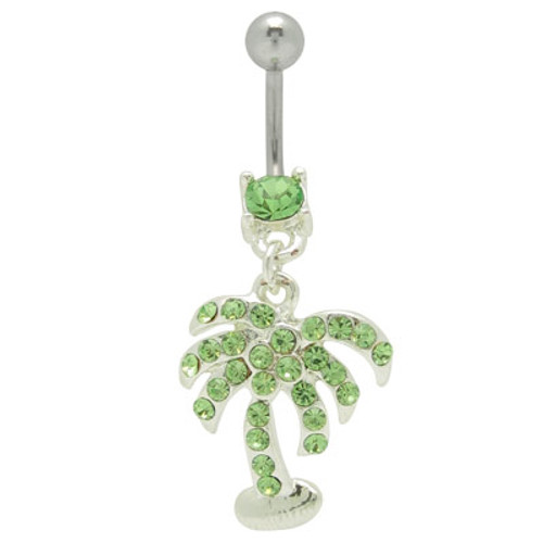 14 gauge Dangle Palm Tree Belly Ring with Green Cz Gems