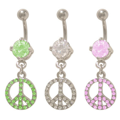 14 gauge Dangling Peace Sign Belly Rings with Jewels