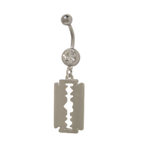 14 gauge Dangling Razor Blade with Heart Cut Out Belly Ring