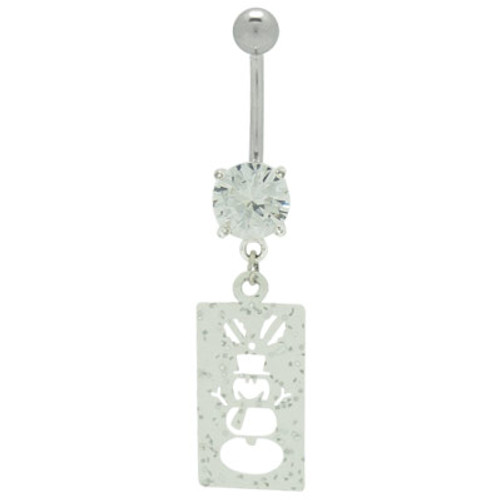 Dangle Snow Man Charm 14 gauge  Belly Ring with Cz Gem