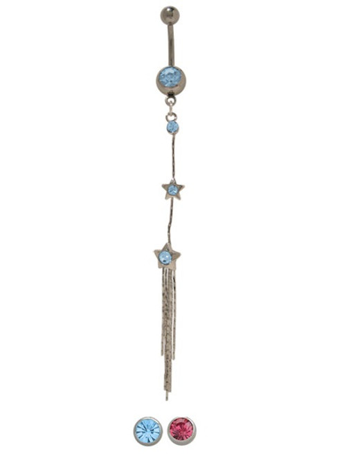 14 gauge Dangler Stars Belly Button Ring with CZ Jewels