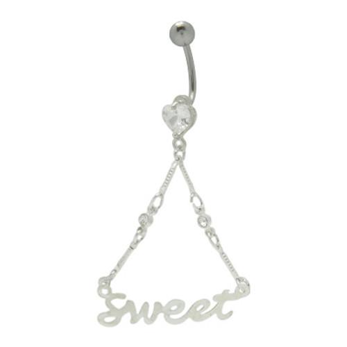 14 gauge Dangling Sweet Logo Belly Ring Barbell