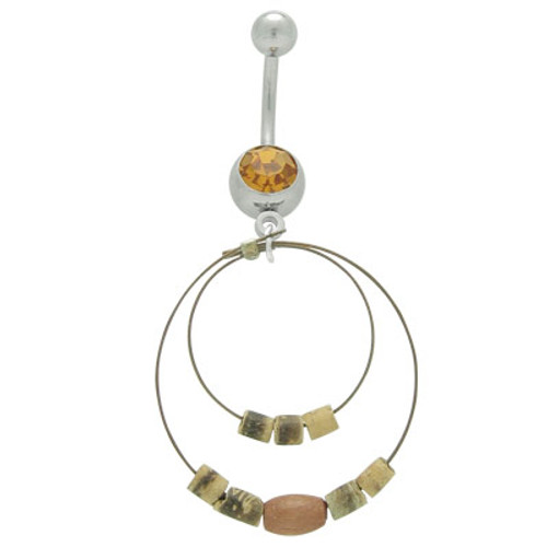 14 gauge Dangle Wire Hoops & Beads Belly Button Ring