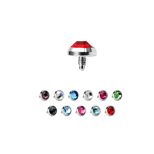 11 Dermal Anchor Tops 14g Surgical Steel Flat CZ Bead (3mm, 4mm & 5mm)