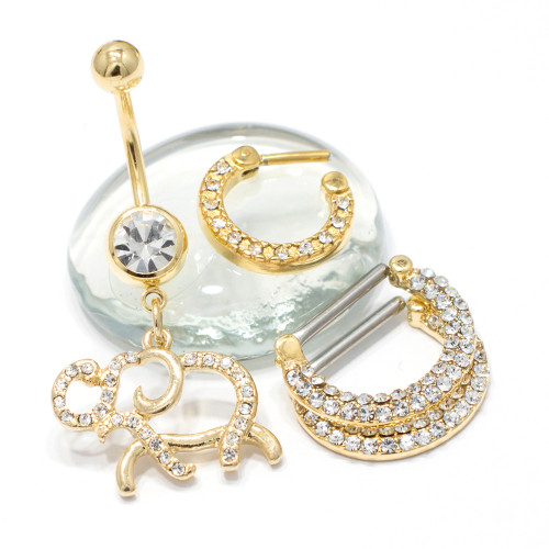 Package of 3 Gold IP Items, Belly Ring, Pair of Nipple Shield and a Septum Clicker