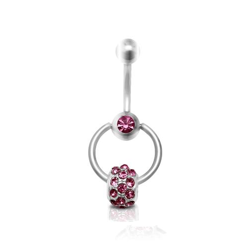 Belly Button Ring with Pink Cubic Zirconia Door Knocker Design 14 Gauge 7/16