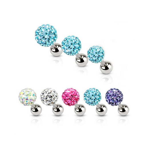 16ga Ferido Ball Top 316L Surgical Steel Tragus/Cartilage Barbell - Sold Each