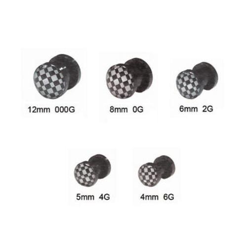 Ear Plug Acrylic Screw Fit with Checker Logo Design