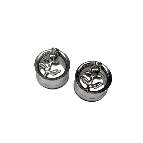 Ear plugs double Flared screw fit internal threaded surgical steel with Rose design