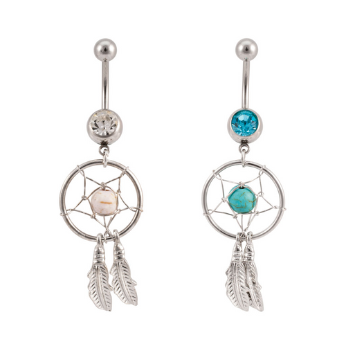 Pair of Dangling Dreamcatcher 14ga Belly Rings with CZ Gem
