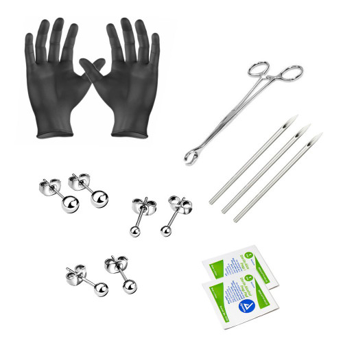 Ear piercing Kit Titanium earrings 3 pairs included Needles Steel Clamps Gloves