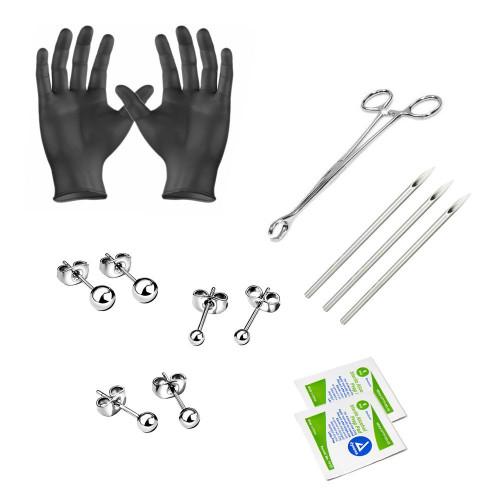Ear piercing Kit Titanium earrings 3 pairs included Needles Steel Clamps Gloves