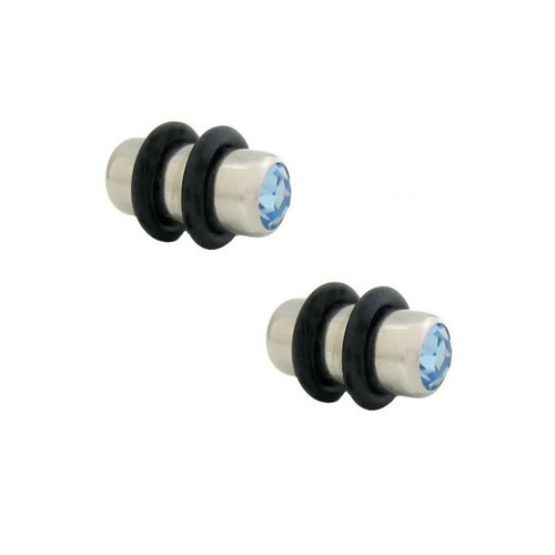 Pair of  Ear Plugs Surgical Steel with Jewel on both sides (4gauge to 0 gauge)