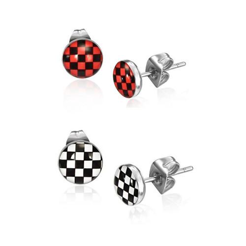 Pair of Stainless Steel Checkerboard Stud Earrings 22ga
