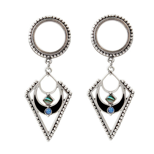 Pair of Triangle Antique Look Design Dangle Plugs with Synthetic Opal 316L