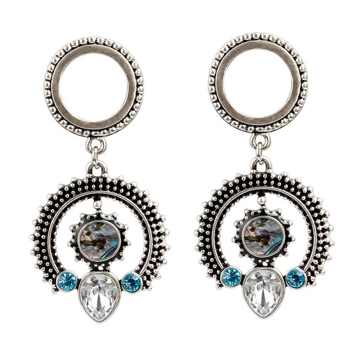 Pair of Half Circle Antique Look Design Ear Plugs with Cubic Zirconia and Synthetic Opal 316L