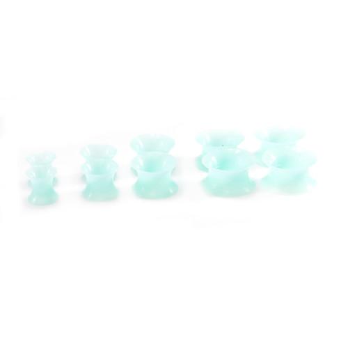 Pair of Aqua Glow in the Dark  Soft Thin Silicone Flexible Tunnels 2ga- 1/2 in
