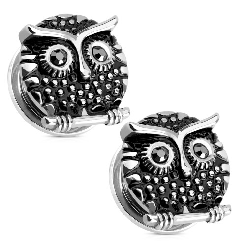 Pair of Ear Plugs | Tunnels Screw Fit Owl Design With Cubic Zirconia