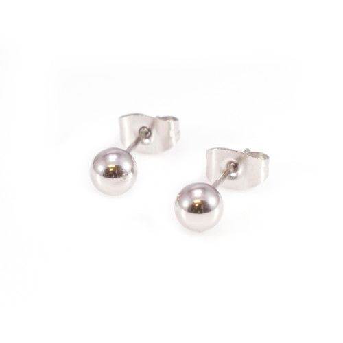 Pair of Silver Round Earring Studs 22G