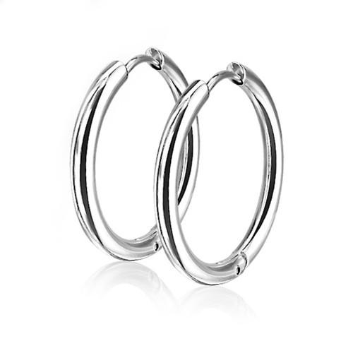Pair of Hoop Earrings Hinge Action Seamless 316L Stainless Steel