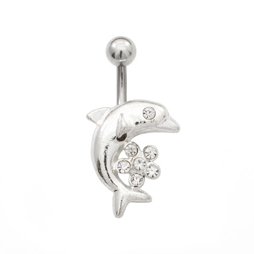 Belly Rings with Dolphin and Cubic Zirconia Flower Design 14ga