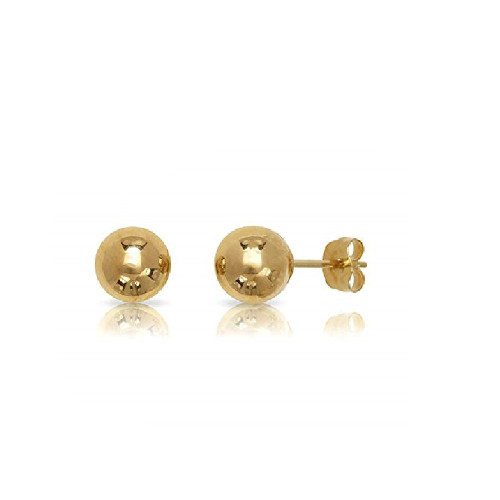 14k Solid Yellow Gold Hollow Ball Stud Earrings- Sold as a Pair 20ga