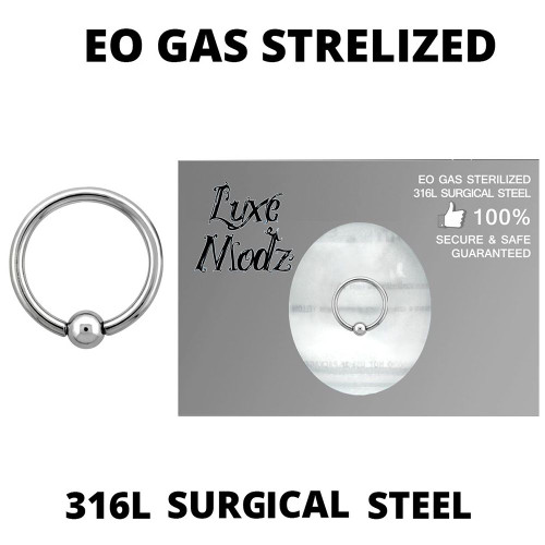 Ball Captive Bead Ring Ethylene Oxide Gas Sterilized 316L Surgical Steel 14 Gauge with 4mm Ball