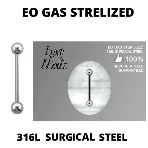 Barbell Tongue Ring Ethylene Oxide Gas Sterilized 316L Surgical Steel 14 Gauge with 5mm Balls