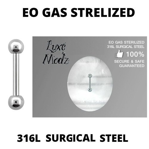 Barbell Tongue Ring Ethylene Oxide Gas Sterilized 316L Surgical Steel 16 Gauge with 3mm Balls