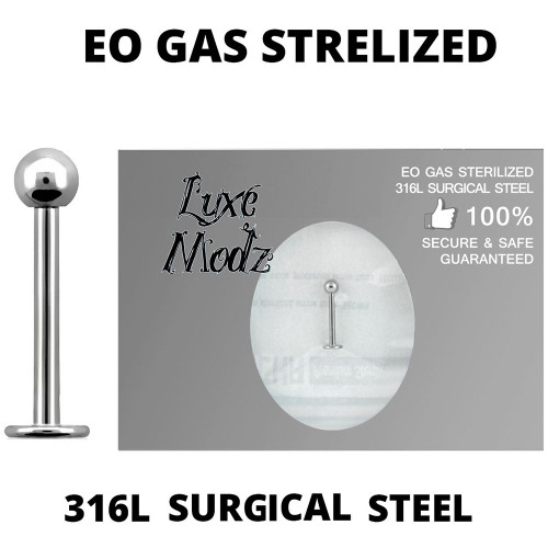 Labret Lip Ring Ethylene Oxide Gas Sterilized 316L Surgical Steel 16 Gauge with 3mm Ball