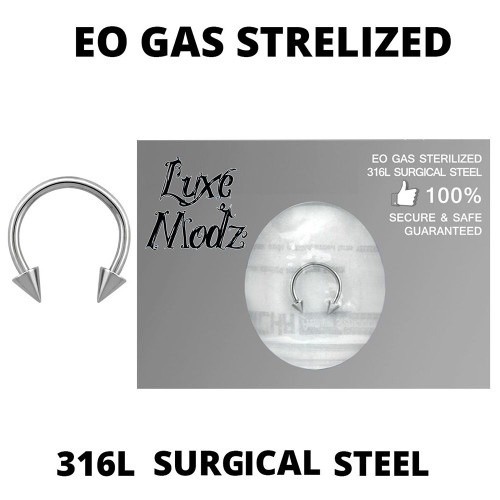 Horseshoe Ring Ethylene Oxide gas Sterilized 316L Surgical Steel 16 Gauge with 3mm Spikes