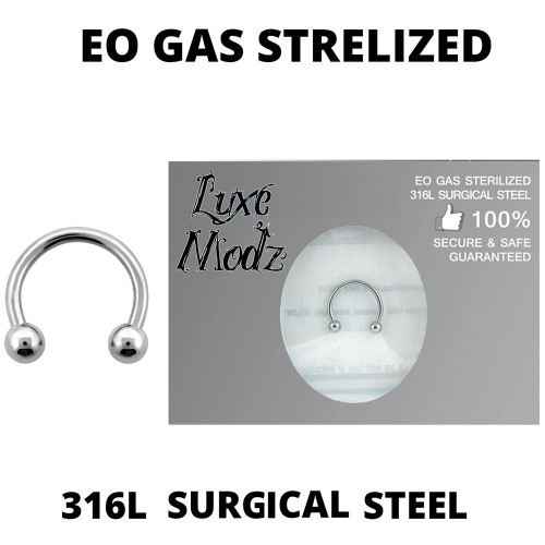 Horseshoe Ring Ethylene Oxide gas Sterilized 316L Surgical Steel 16 Gauge with 3mm Balls