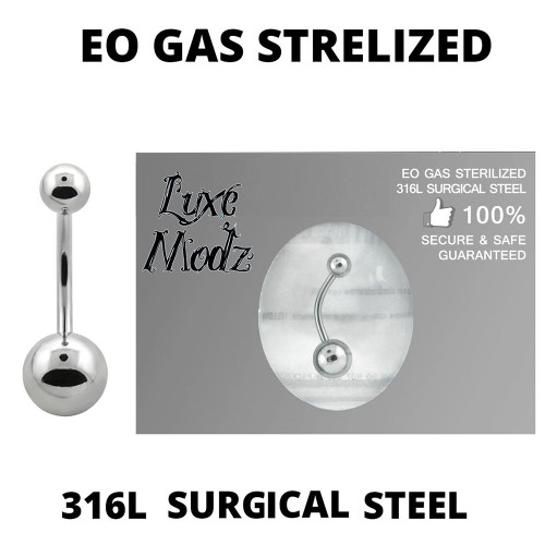 Belly Button Ring Ethylene Oxide Gas Sterilized 316L Surgical Steel 14 Gauge with 5mm and 8mm Steel Ball