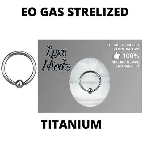 Ball Captive Bead Ring Ethylene Oxide Gas Sterilized Titanium Grade 23 16 Gauge with 3mm Ball