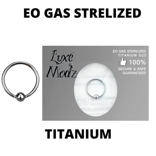 Ball Captive Bead Ring Ethylene Oxide Gas Sterilized Titanium Grade 23 18 Gauge with 3mm ball
