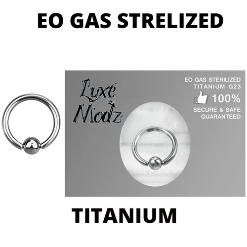 Ball Captive Bead Ring Ethylene Oxide Gas Sterilized Titanium Grade 23 14 Gauge with 4mm Ball