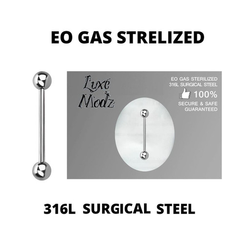 Barbell Tongue Ring Ethylene Oxide Gas Sterilized Titanium Grade 23 14 Gauge with 5mm Balls