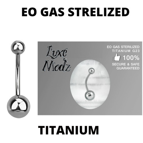 Belly Button Ring Ethylene Oxide Gas Sterilized Titanium Grade 23 14 Gauge with 5mm and 8mm Titanium Ball