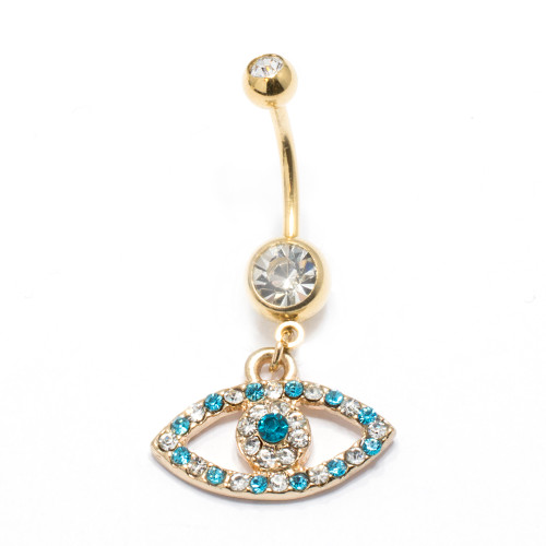Evil Eye Belly Ring Gold Plated With Jewels 14G 7/16""