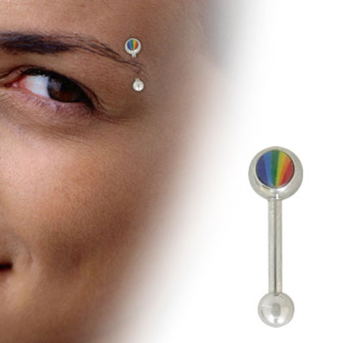 Rainbow Logo Barbell Eyebrow Ring - Out of Stock
